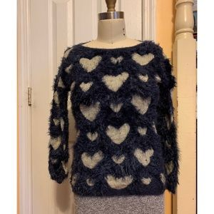 Sweaters - Fuzzy blue sweater with hearts